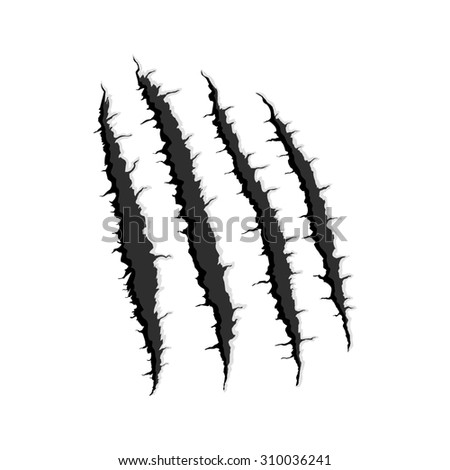 Black four vertical trace sign,symbol,icon,pictogram of monster claw, hand scratch ,rip through,break through with shadow and light isolated on white background - stock photo