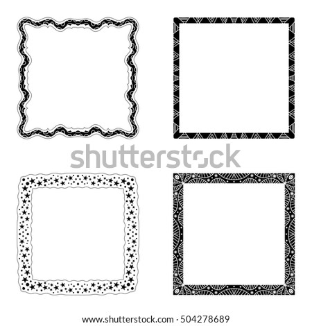 Black frame collection  isolated over white background