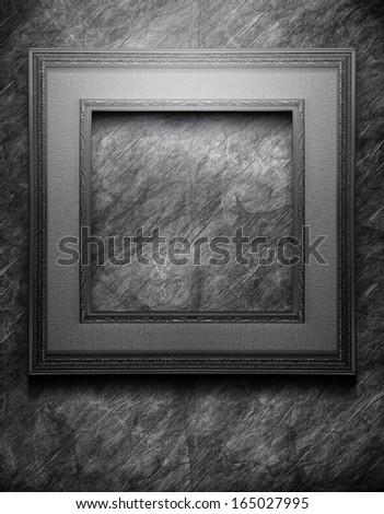 Black Frame on Grunge Background - stock photo