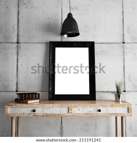 Black frame on table - stock photo