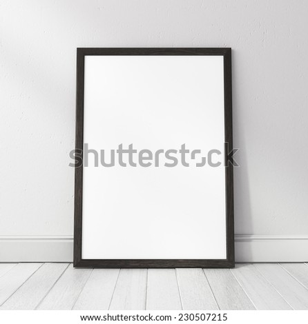 Black frame on white parquet floor