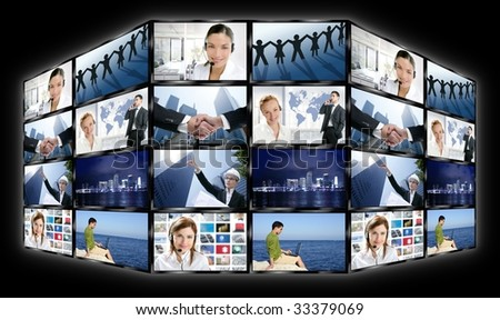 Black frame television multiple screen wall with business concepts [Photo Illustration] - stock photo