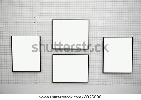 black frames on the white wall