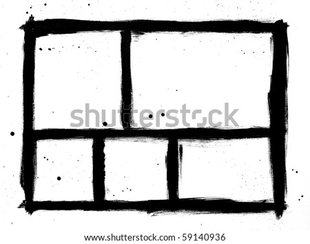 black frames painted on canvas - comic panel style - stock photo
