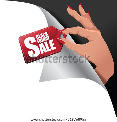 Black Friday hand holding sale tag page curl royalty free stock illustration for greeting card, ad, promotion, poster, flier, blog, article, social media, marketing