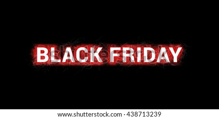 Black friday label. Artistic illustration with red paint-splatters on black background and white, bold letters.