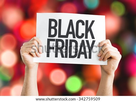 Black Friday placard with red lights on background - stock photo