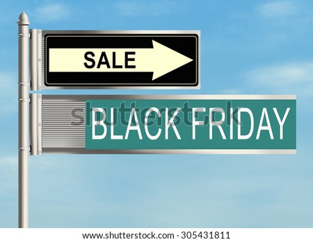 Black friday. Road sign on the sky background. Raster illustration.