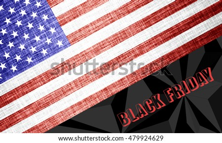 Black Friday Sale banner. Text and stylized flag of the USA.
