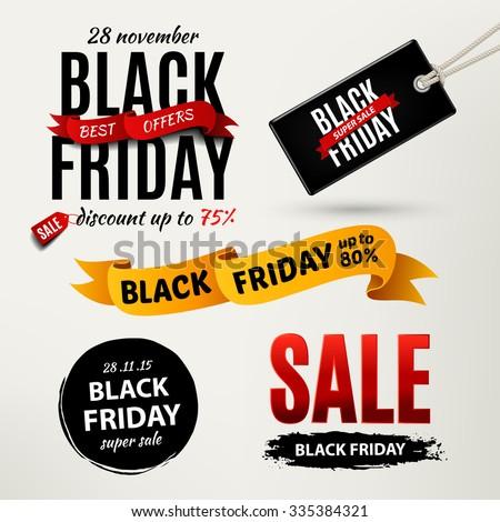 Black friday sale design elements. Black friday sale inscription labels, stickers. Rasterized Copy - stock photo
