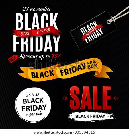 Black friday sale design elements, inscription, labels, stickers. Rasterized Copy - stock photo