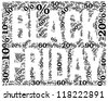 Black Friday sale indication. Word cloud, tag cloud text business concept. Word collage. - stock photo