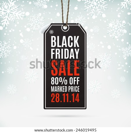 Black Friday sale realistic paper price tag on background with snow and snowflakes - stock photo