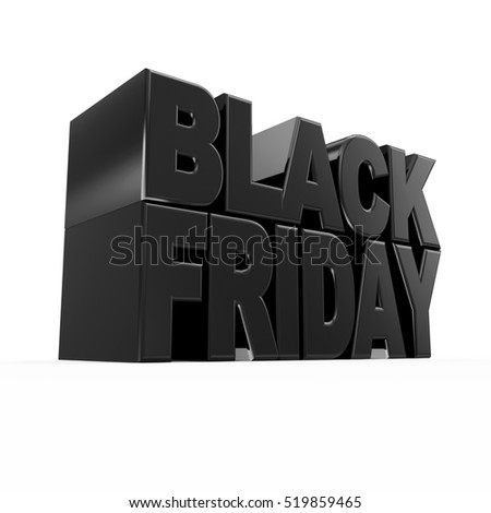 Black Friday Sign Isolated on white background. Big Discount and Sale Concept. 3D Rendering