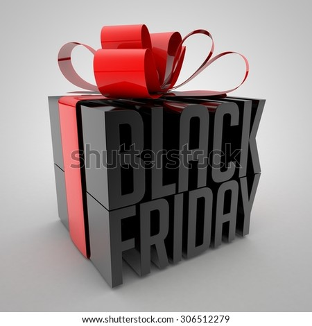 Black Friday sign Wrapped with red ribbon - stock photo