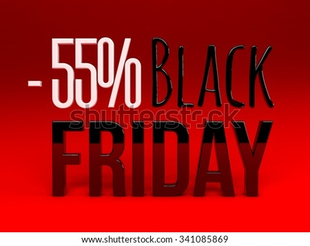 Black friday super sale. Raster illustration. Three-dimensional graphics. Sales, huge discounts.