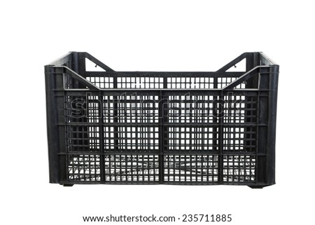 Black fruits and vegetable plastic crates isolated on white background - stock photo