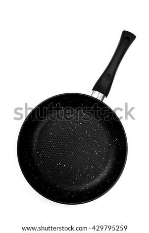 black frying pan isolated on white background - stock photo