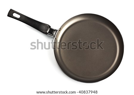 black frying pan top view isolated on white - stock photo