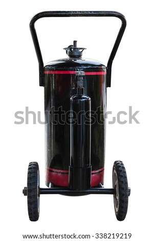black fuel tank with wheel isolate on white background - stock photo