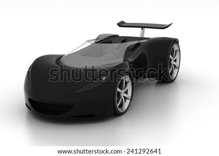 black futuristic concept sport car, 3d render  - stock photo