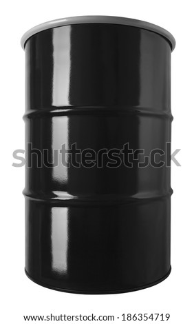 Black 55 Gallon Oil Drum Barrel Isolated on White Background. - stock photo