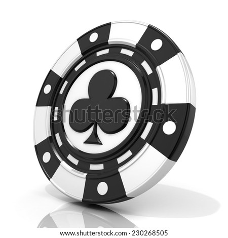 Black gambling chip with club sign on it. 3D render isolated on white background - stock photo