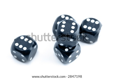 Black gambling dices isolated on white background