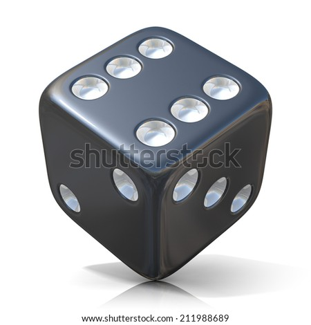 Black game dice isolated on white background - stock photo