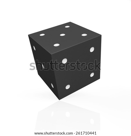 Black game dice with white dots isolated on white background - stock photo