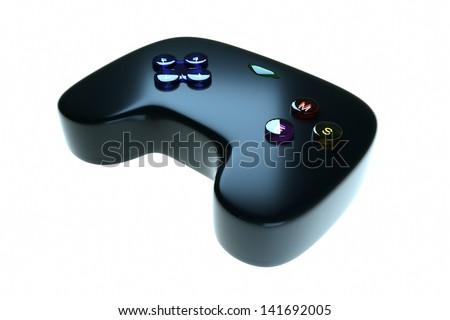 Black game joystick on a light background - stock photo