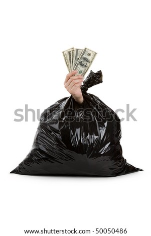 Black Garbage Bag and dollar, concept of recycling - stock photo