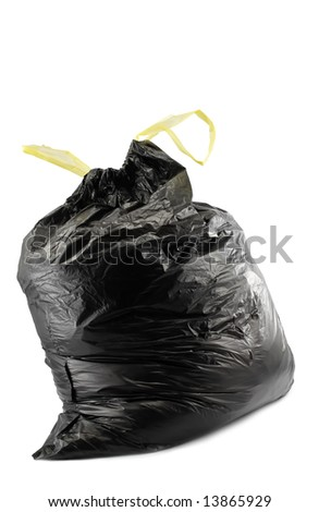 Black garbage bag isolated on white