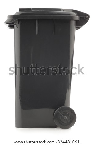 black garbage can isolated on white background - stock photo