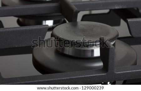 black gas burner in detail - stock photo