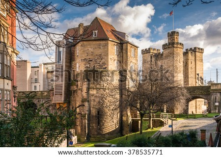 Black Gate Gatehouse and Castle Keep / The Castle Keep and Black Gate in the city centre are all that remain of a medieval fort which gave the city its name. Combined as The Castle visitor attraction - stock photo