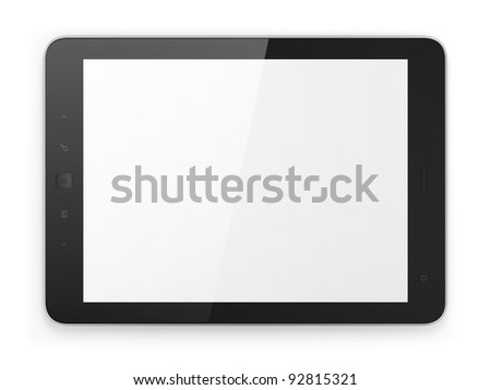 Black generic tablet computer (tablet pc) on white background. Modern portable touch pad device with white screen.