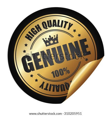 Black Genuine 100% High Quality Infographics Peeling Sticker, Label, Icon, Sign or Badge Isolated on White Background  - stock photo