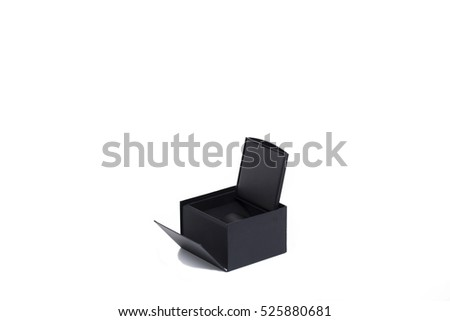 Black gift box. Isolated on the white background.