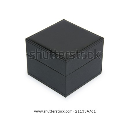 black gift box isolated on white - stock photo
