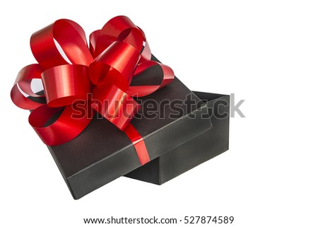 Black gift box with beautiful red bow isolated on white background