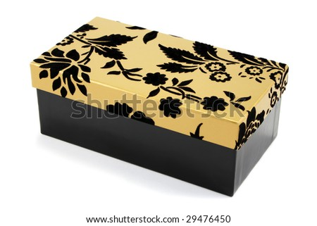 Black gift box with black flock and gold lid on a white background - stock photo