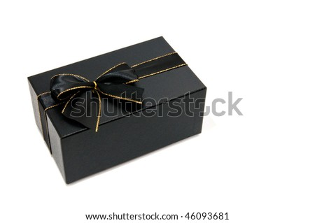 Black gift box with  black knot white isolated