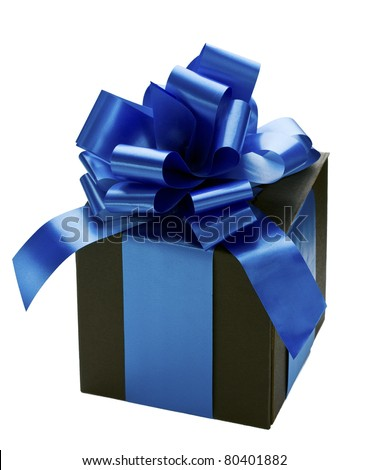 Black gift box with blue silk ribbon tied in a bow on white background.