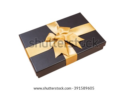 black gift box with gold ribbon and a bow on white background - stock photo
