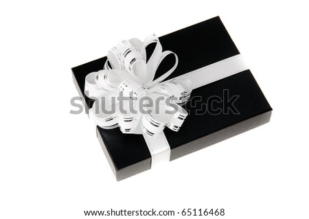Black gift box with whit knot white isolated