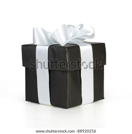 black gift box with white ribbon isolated on white - stock photo