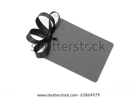 Black gift tag - stock photo
