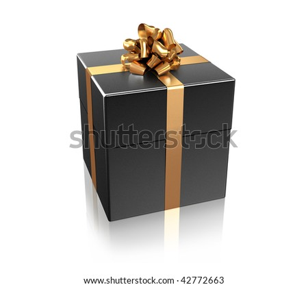 Black gift with the golden ribbon isolated on white background - stock photo