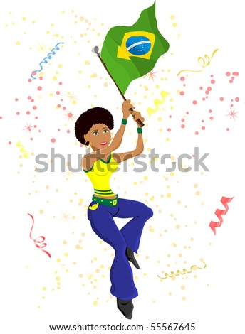 Black Girl Brazil Soccer Fan with flag. - stock photo